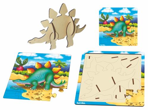 Tuzzles wooden dual layer 3D Puzzle Stegosaurs DL3D-005