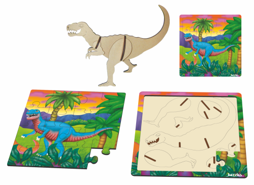 Tuzzles wooden dual layer 3D Puzzle Allosaurus DL3D-008