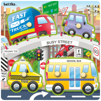 KN3X3-049S - Busy Street Tuzzles Wooden Knob Puzzle