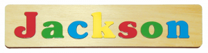 sample of a 7 letter personalized wooden name puzzle