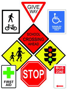 School Zone Road Signs Table Puzzles Set